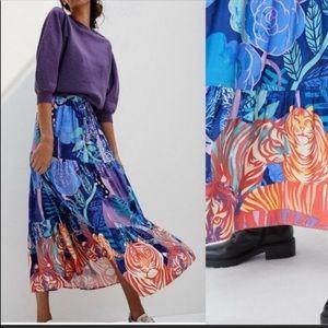 Anthropologie floral maxi summer skirt size L